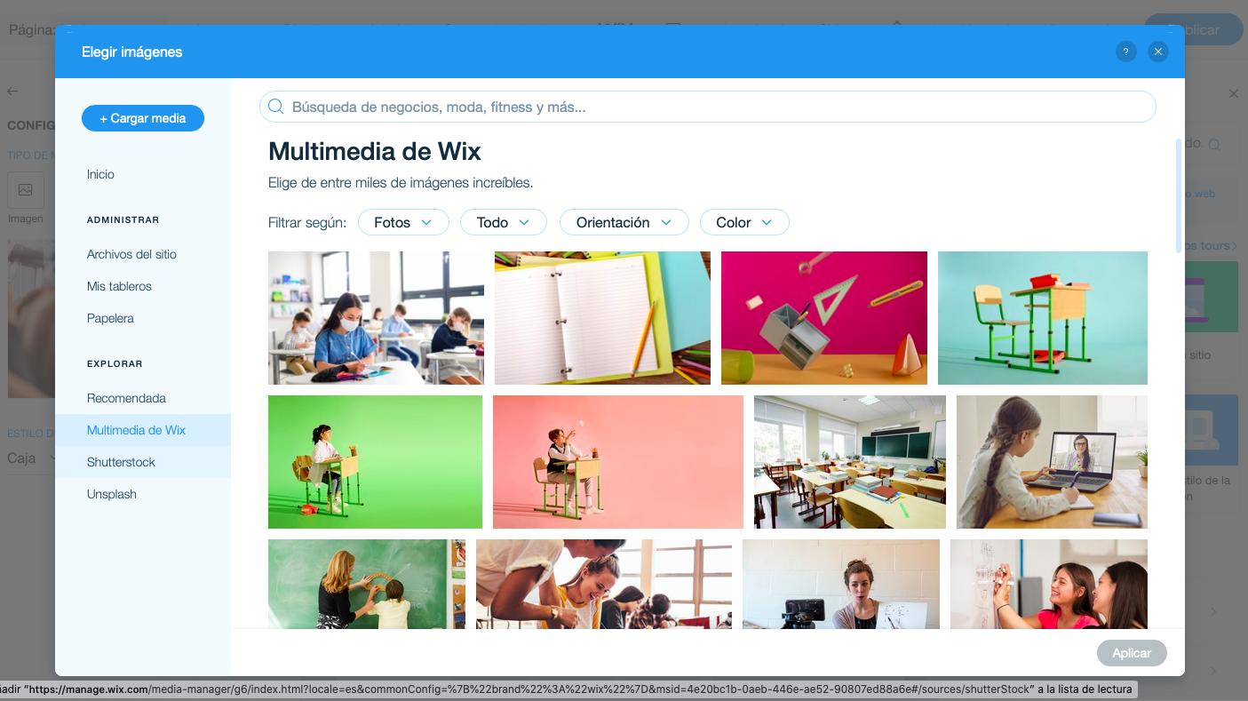 Galería imágenes Wix Stores