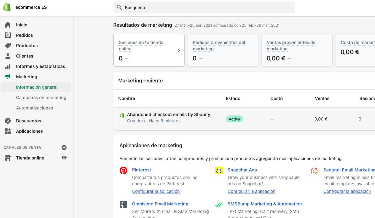 Dashboard Shopify eCommerce