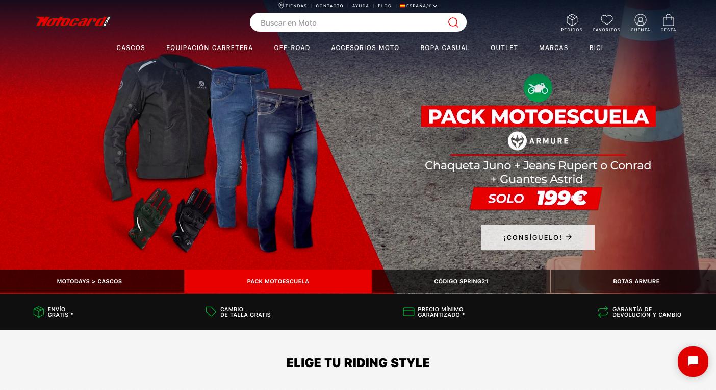 TIenda online de Motocard.com