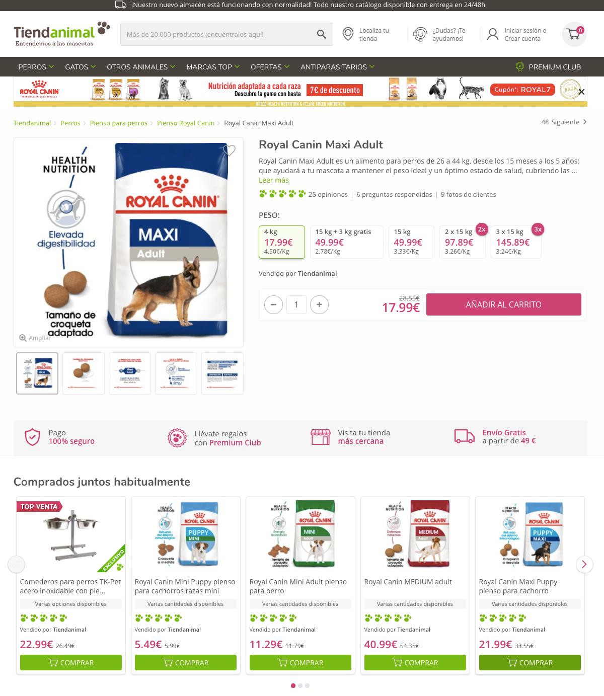 Tiendanimal ejemplo de eCommerce con una buema estrategia de contenido