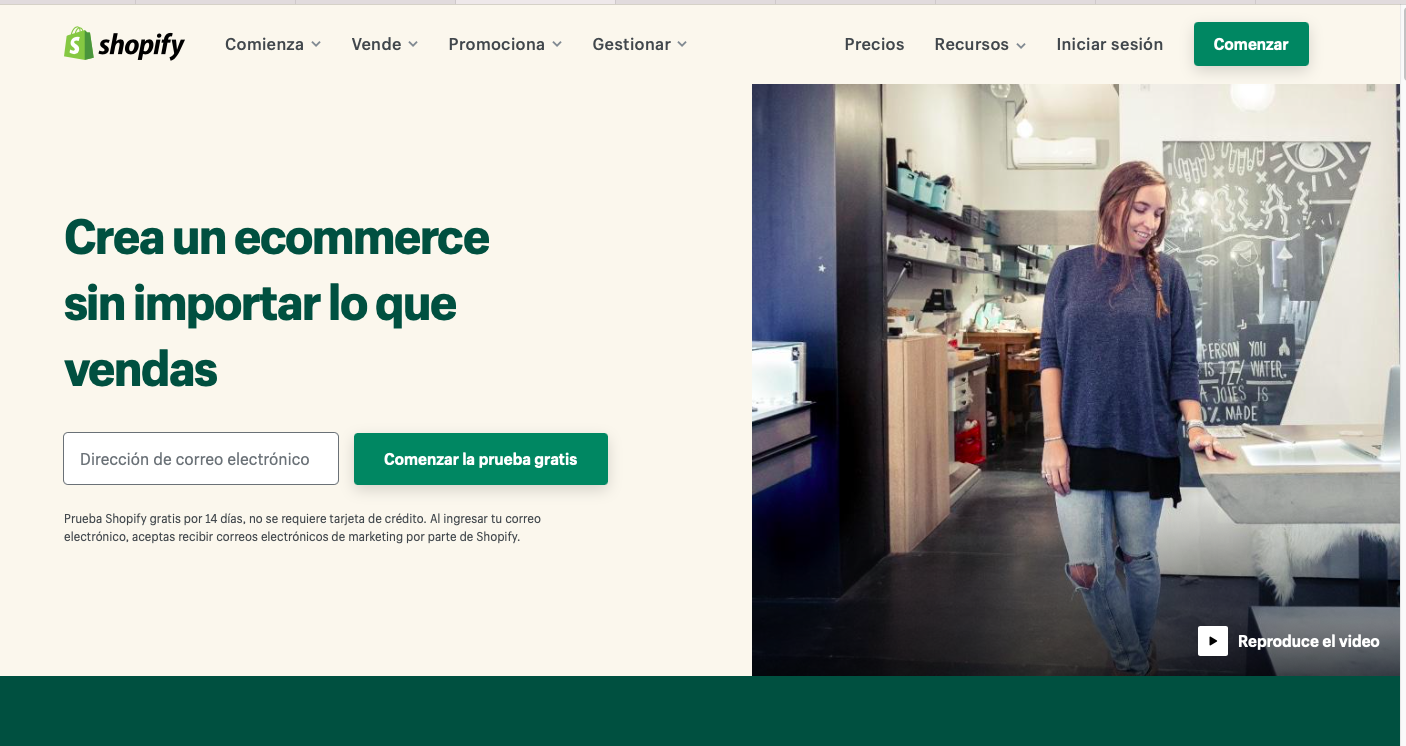 Shopify plataforma para crear ecommerce