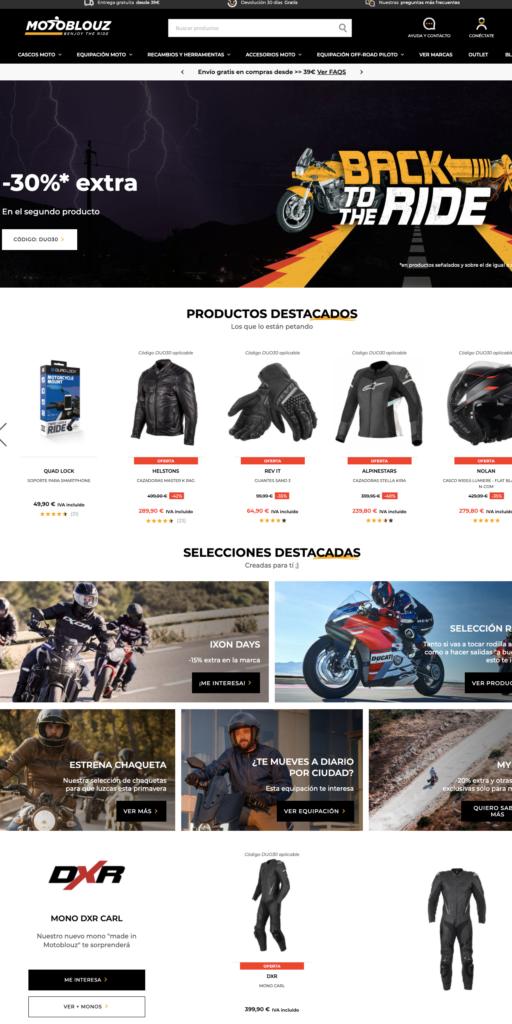 Motoblouz tienda online accesorios y equipación motoristas